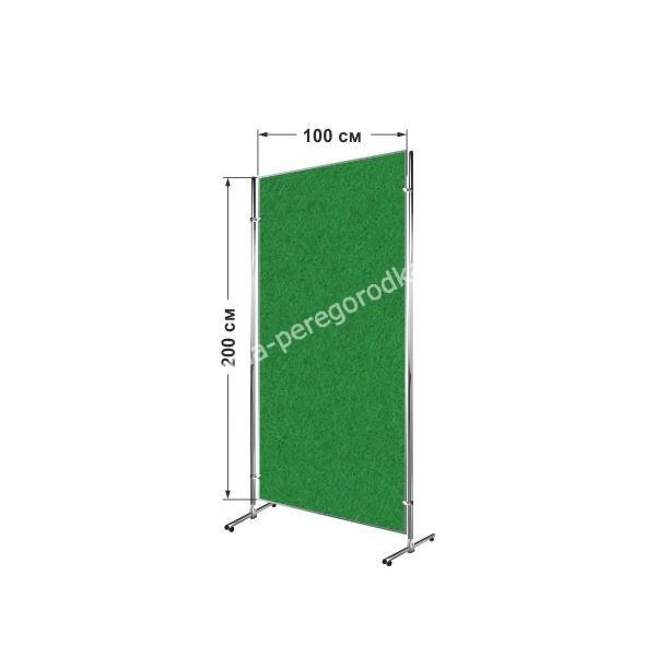 Мобильная перегородка двухсторонняя напольная фетровая зеленая 1 секционная 200 х 100 см
